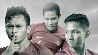 Pemain Timnas Indonesia: Witan Sulaeman, Evan Dimas dan Syahrian Abimanyu. (Bola.com/Dody Iryawan)