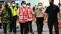 Menteri Perhubungan Budi Karya Sumadi meninjau terminal kedatangan internasional Bandara Soekarno Hatta, Tangerang, Banten. (Istimewa)