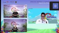 Menparekraf Sandiaga Uno dan Deputi Bidang Pengembangan Destinasi dan Infrastruktur Kemenparekraf/Baparekraf, Vinsensius Jemadu, dalam pembukaan Bimtek dan Workshop Online ADWI 2021. (Liputan6.com/Dinny Mutiah)