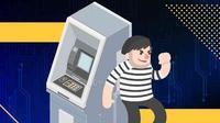 Ilustrasi pembobolan ATM, Ilustrasi: Dwiangga Perwira/Kriminologi.id