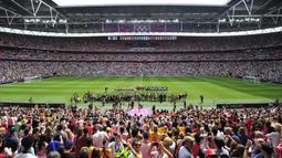 Wembley menjadi stadion terbesar di antara 11 venue Euro 2020 (Euro 2021) lainnya karena memiliki kapasitas 90 ribu penonton. Stadion ini merupakan stadion terbesar di Inggris dan stadion ke dua terbesar di Eropa setelah Camp Nou di Barcelona, Spanyol. (Foto: AFP/Glyn Kirk)