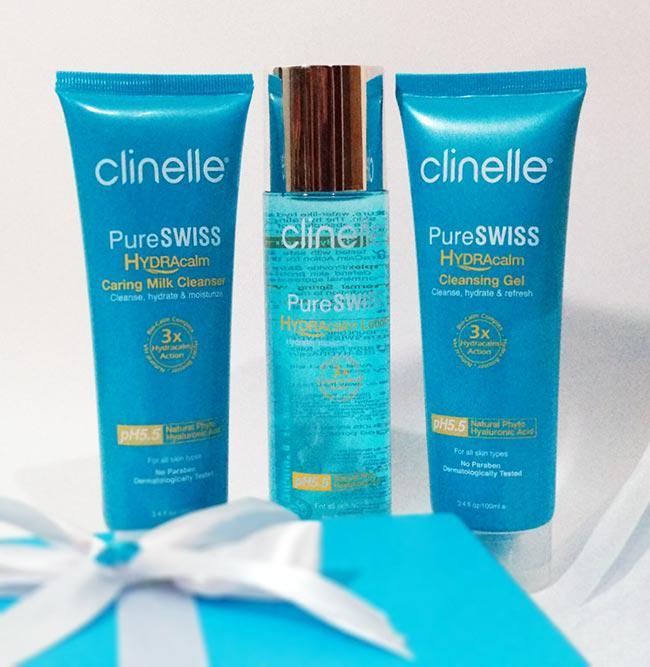 Rangkaian produk produk dari Clinelle seri PureSWISS HydraCalm | Copyright: Vemale.com/Dewi Ratna
