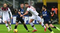 Inter Milan menghadapi Bologna di Giuseppe Meazza pada laga pekan ke-22 Serie A, Minggu (3/2/2019) malam waktu setempat. (AFP/Miguel Medina)