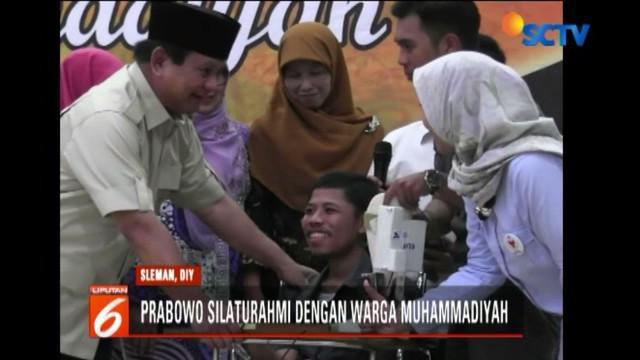Kehadiran Prabowo di Sleman sendiri adalah untuk bersilaturahmi dengan dengan warga Muhammadiyah DIY. Dalam acara ini, Prabowo juga berkesempatan menyerap aspirasi seorang mahasiswa difabel berprestasi.