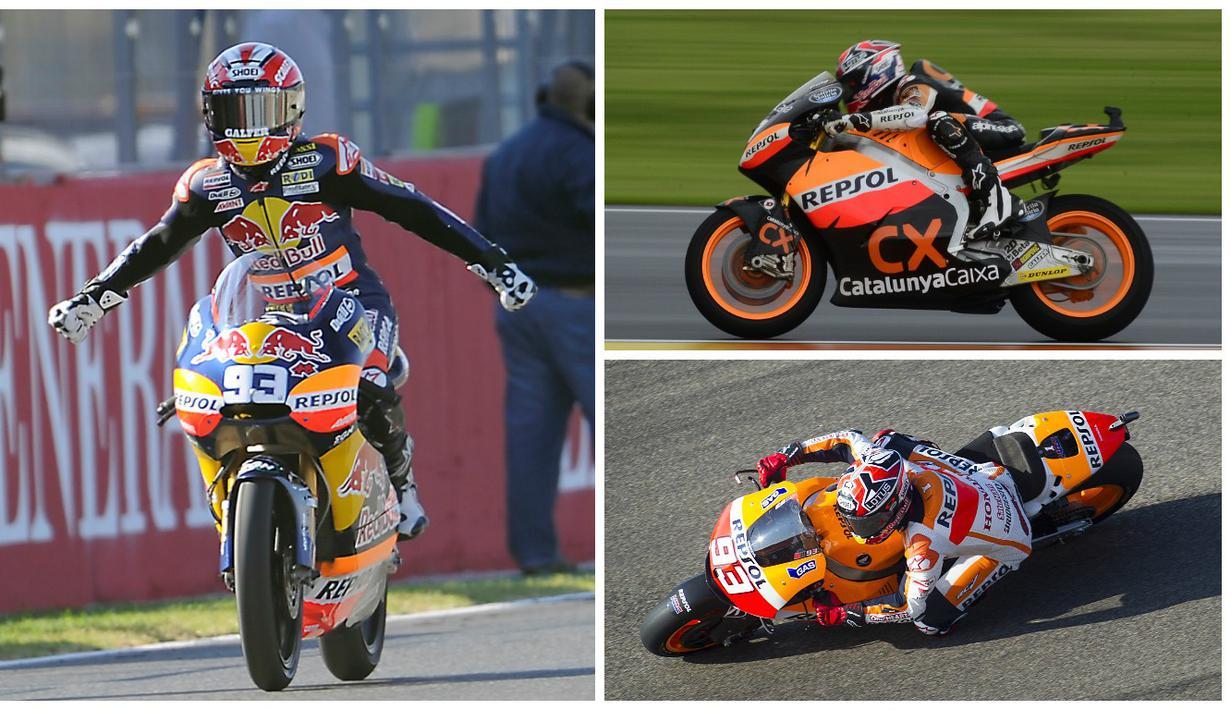 5 motor Marc Marquez saat meraih gelar juara dunia. Marquez meraih juara dunia 125cc 2010, Moto2 2012, dan MotoGP 2013, 2014, 2016. (AFP)