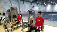 Tampak pemain senior Indonesia, Mohammad Ahsan mengikuti latihan jelang Olimpiade Tokyo 2020. (Istimewa)