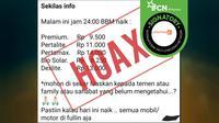 Cek Fakta - Hoaks BBM Naik 30 Agustus 2019