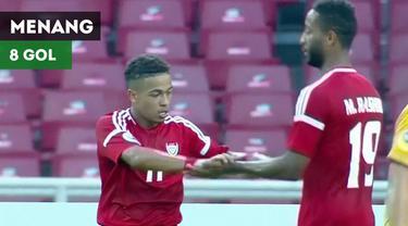 Berita video highlights kemenangan UEA (Uni Emirat Arab) U-19 atas Chinese Taipei U-19 yang berakhir dengan skor 8-1 pada laga kedua Grup A Piala AFC U-19 2018, Minggu (21/10/2018).
