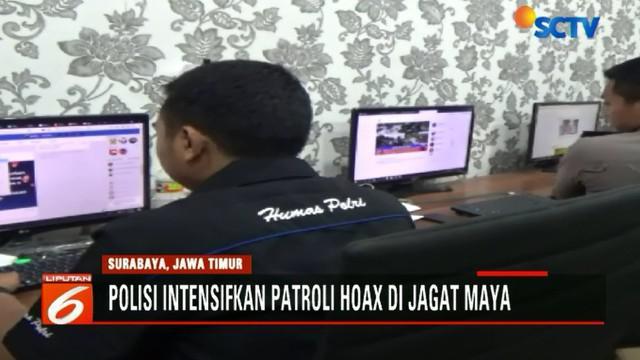 Polda Jawa Timur terus mengintensifkan cyber patrol untuk menjaga agar suasana Pilkada di Jawa Timur berjalan kondusif.