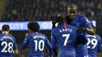 N'Golo Kante mencetak gol terlebih dahulu untuk Chelsea saat menghadapi Manchester City (AP)