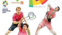 Banner Jatuh Bangun Badminton Indonesia di Asian Games. (Liputan6.com/Triyasni)