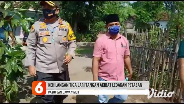 Darsan (38), perangkat Desa Kapasan, Kecamatan Nguling, Kabupaten Pasuruan hancur terkena ledakan petasan. Darsan diduga lalai dan salah memegang saat menyulut petasan jenis kembang api.
