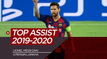 Berita motion grafis Lionel Messi, Kevin De Bruyne dan 3 raja assist Eropa 2019-2020.