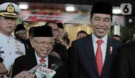 Joko Widodo atau Jokowi (kanan) dan Ma'ruf Amin (kiri) memberi keterangan usai dilantik menjadi Presiden dan Wakil Presiden RI periode 2019-2024 di Gedung Nusantara, Jakarta, Minggu (20/10/2019). Jokowi dan Ma'ruf Amin terlihat senyum semringah usai pelantikan. (merdeka.com/Iqbal Nugroho)