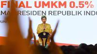 Presiden Joko Widodo (Jokowi) memberikan sambutan pada sosialisasi pajak penghasilan (PPh) final UMKM di Sanur, Bali, Sabtu (23/6). Jokowi mensosialisasikan aturan baru tarif PPh Final yang turun menjadi 0,5 persen. (Liputan6.com/Pool/Biro Pers Setpres)
