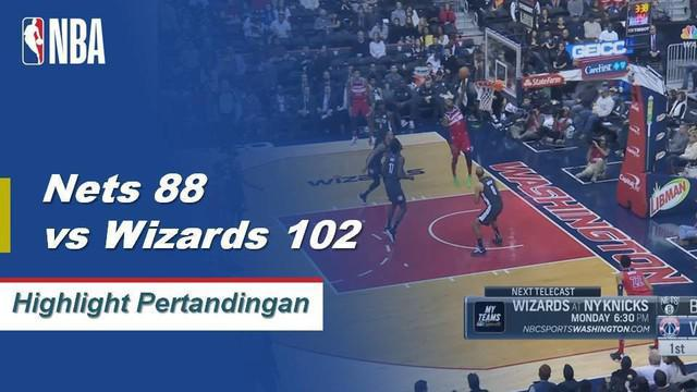 John Wall mencetak 30 poin dengan 9 assist dan Nradley Beal menambah 22 poin menjadikan Wizards menepis 2 kekalahan beruntun dengan mengalahkan Nets