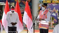 Presiden Joko Widodo (Jokowi) bersama Menteri Perhubungan (Menhub) Budi Karya Sumadi meresmikan Terminal Baru Bandara Mopah di Kabupaten Merauke, Papua. (Dok Kemenhub)