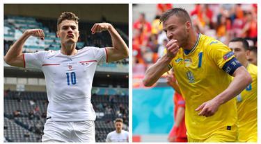 Euro 2020 (Euro 2021) hampir menuntaskan seluruh laga di fase grup. Beberapa pemain telah tampil mengejutkan setelah sebelumnya tidak masuk hitungan. Tidak cuma striker, bahkan pemain berposisi bek pun unjuk kemampuan terbaik demi dilirik tim elite musim depan. (Foto: Kolase AP)