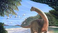 Seekor Mansourasaurus shahinae berada di garis pantai, dimana tempat tersebut kini menjadi Western Desert of Egypt, sekitar 80 juta tahun yang lalu. (Andrew McAfee/AFP)