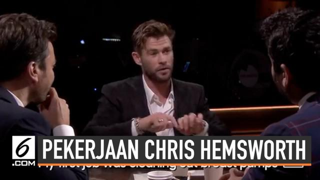 Saat berusia 14 tahun, Chris Hemsworth ternyata sudah bekerja. Tak tanggung-tanggung Chris bekerja sebagai pembersih pompa ASI di sebuah apotek. Pekerjaan pertamanya ini diungkapkan saat Chris tampil di acara The Tonight Show.