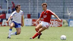 Sergei Aleinikov (kanan) mencetak gol di menit ke-2 lebih 7 detik. Gol ini mampu membawa Uni Soviet mengalahkan Inggris 3-1 pada pergelaran Euro 2004. (Foto: AFP/Stringer)