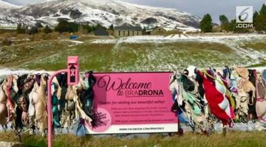 Sepanjang jalan Cardrona terdapat pagar pembatas jalan yang digantungi beragam jenis bra, seperti halnya jemuran.