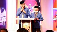 Calon Gubernur dan Wakil Gubernur Sumatera Barat (Sumbar) nomor urut 1 Mulyadi-Ali Mukhni mengikuti Debat Publik Pertama di Pemilihan Gubernur Sumbar. (Istimewa)