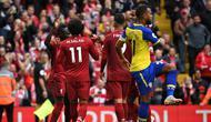 Para pemain Liverpool merayakan gol Mohamed Salah ke gawang Southampton (Foto: PAUL ELLIS / AFP)