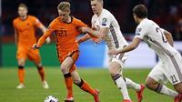 Timnas Belanda meraih kemenangan 2-0 atas Latvia pada laga kedua Grup G kualifikasi Piala Dunia 2022 zona Eropa di Johan Cruijff ArenA, Minggu (28/3/2021) dini hari WIB. (MAURICE VAN STEEN / ANP / AFP)