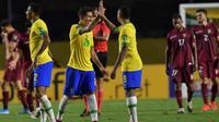Timnas Brasil meraih kemenangan 1-0 atas Venezuela pada laga kualifikasi Piala Dunia 2022 zona CONMEBOL, di Estadio Cícero Pompeu de Toledo, Sabtu (14/11/2020) pagi WIB. (Nelson Almeida/Pool via AP)
