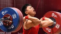 Rahmat Erwin Abdullah tampil di kelas 77 kg pada Asian Games 2018 lalu (ANTARA FOTO/INASGOC/Helmi Afandi/YU/18.)