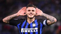 1. Mauro Icardi - Inter Milan memberikan nomor punggung 7 kepada Mauro Icardi setelah nomor 9 diberikan kepada Romelu Lukaku pada musim ini. (AFP/ Alberto Pizzoli)