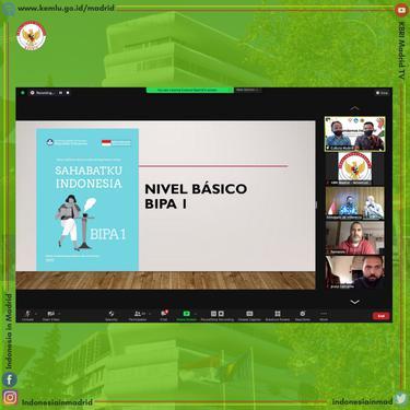 Pelajaran bahasa Indonesia secara daring yang diadakan oleh KBRI Madrid.