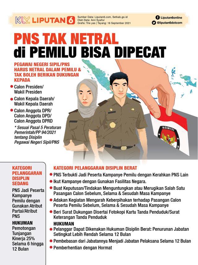 Infografis PNS Tak Netral di Pemilu Bisa Dipecat. (Liputan6.com/Trieyasni)