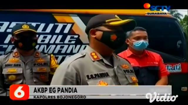 Sebuah hajatan warga yang menyuguhkan hiburan musik organ tunggal di Desa Kedaton, Kabupaten Bojonegoro, Jawa Timur, terpaksa dibubarkan oleh Polres Bojonegoro saat operasi yustisi Satgas Covid-19.