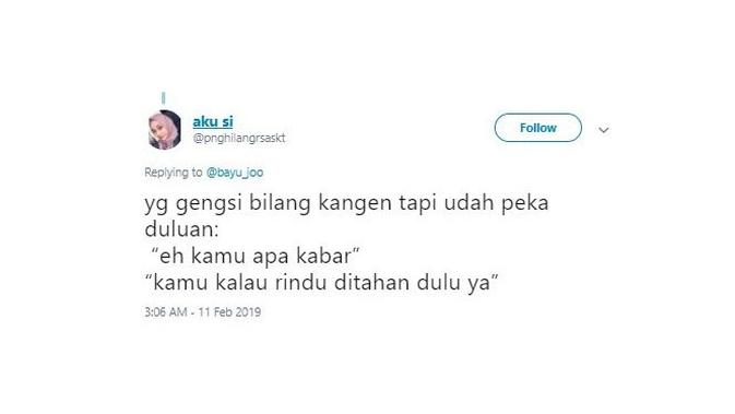 Cara Bilang Kangen yang lucu (Sumber: twitter)