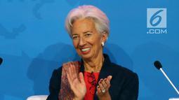 """Direktur Pelaksana IMF Christine Lagarde saat menghadiri pembukaan High - Level International Conference di Jakarta, Selasa (27/2). Konferensi internasional tingkat tinggi ini bertemakan """"Models in a Changing Global Landscape"""". (Liputan6.com/JohanTallo)"""