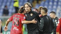 Pelatih Benevento, Filippo Inzaghi merayakan keberhasilan tim mengalahkan Sampdoria dengan skor 3-2 di Liga Italia 2020/2021.  (Tano Pecoraro/LaPresse via AP)