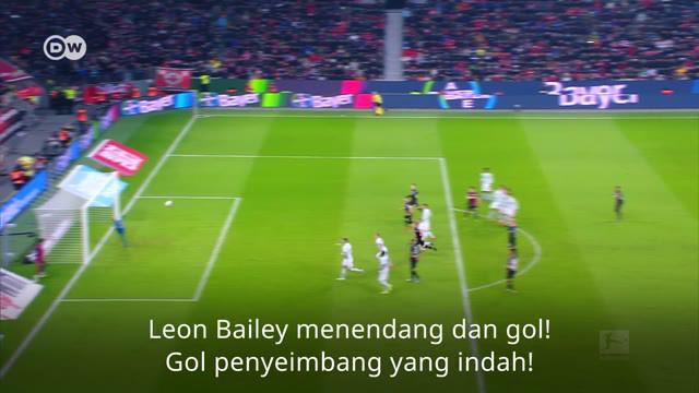 Berita video gol spektakuler dari pemain muda Bayer Leverkusen, Leon Bailey saat menghadapi Bayern Munchen, Sabtu (2/2/2019)