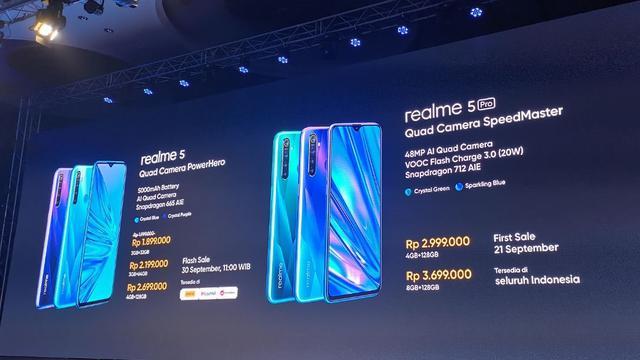 Harga Realme 5 dan Realme 5 Pro.