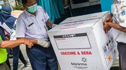 Petugas membawa kotak vaksin virus corona buatan Sinovac Biotech Ltd. di Puskesmas Cilincing, Jakarta, Rabu (13/1/2021). Pemprov DKI akan menggelar vaksinasi di 453 fasilitas kesehatan DKI Jakarta dengan jumlah dosis vaksin yang sudah diterima sebanyak 39.200 vaksin. (Liputan6.com/Faizal Fanani)