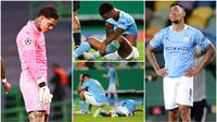 Manchester City baru saja menelan pil pahit usai disingkirkan Lyon pada perempat final Liga Champions. Berikut ragam ekspresi anak asuh Pep Guardiola usai wasit meniupkan peluit panjang tanda waktu pertandingan berakhir.