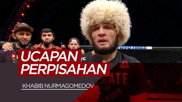 Berita video kalimat perpisahan Khabib Nurmagomedov saat putuskan pensiun dari UFC, Minggu (25/10/20).