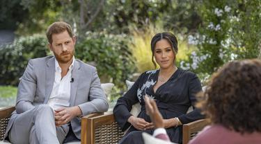 Pangeran Harry dan Meghan Markle dalam Wawancara Oprah. (Joe Pugliese/Harpo Productions via AP, File)