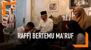 Artis Raffi Ahmad dan keluarganya berkunjung ke kediaman Cawapres Jokowi Ma'ruf Amin