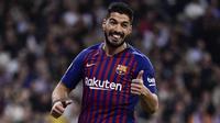 Suarez juga satu-satunya pemain yang berhasil meraih gelar El Pichichi dibawah dominasi Messi-Ronaldo musim 2015/16. Bersama Messi, Suarez adalah kran gol Barcelona musim ini. (AFP/Javier Soriano)
