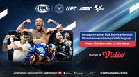 Channel Fox Sports kini tersedia di layanan streaming Vidio. Pengguna sudah bisa menikmati sejumlah tayangan olahraga seperti F1, MotoGP, UFC Grand Slam Tennis, dan lain-lain mulai Senin, (8/3/2021). (Dok. Vidio)