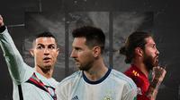 Cristiano Ronaldo, Lionel Messi dan Sergio Ramos. (Bola.com/Dody Iryawan)