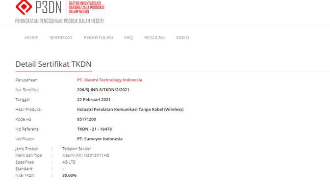 Redmi K40 Pro lolos TKDN. (Doc: Kemenperin)