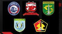 Tim Jawa Timur di Piala Menpora 2021: Persebaya Surabaya, Arema FC, Persik Kediri, Madura United, Persela Lamongan. (Bola.com/Dody Iryawan)